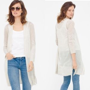 WHBM Pointelle-Stitch Open Duster Cardigan